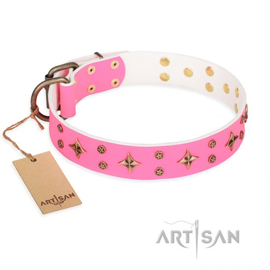 'Chi-Chi Pink Rose' FDT Artisan Leather Doberman Collar with Decorations