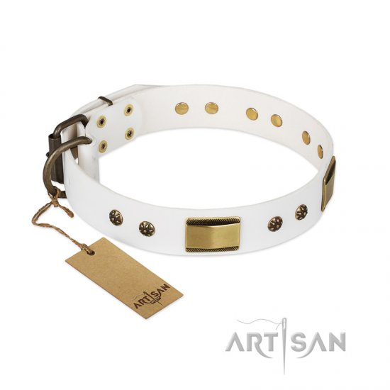 """Precious Necklace"" FDT Artisan White Leather Doberman Collar with Old Bronze Look Plates and Studs"