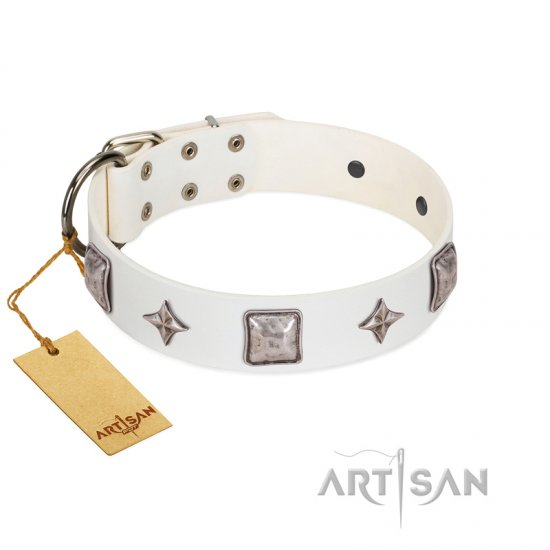 """Vanilla Ice"" FDT Artisan Handmade White Leather Doberman Collar with Silver-like Adornments"