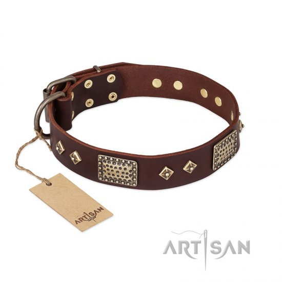 """Loving Owner"" FDT Artisan Decorated Leather Doberman Collar with Plates and Studs"