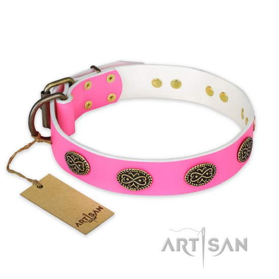 """Forever Fashion"" FDT Artisan Leather Doberman Collar with Old Look Plates - 1 1/2 inch (40 mm) wide"