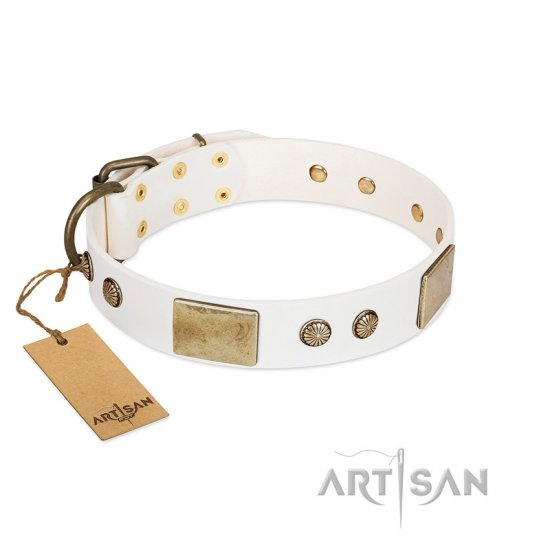 """Pure Elegance "" FDT Artisan White Decorated Leather Doberman Collar - 1 1/2 inch (40 mm) wide"