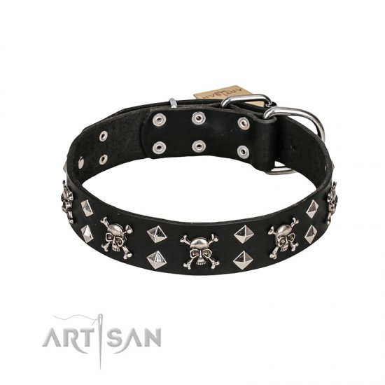 FDT Artisan 'Rock 'n' Roll Style' Fancy Leather Doberman Collar with Skulls, Bones and Studs 1 1/2 inch (40 mm) wide