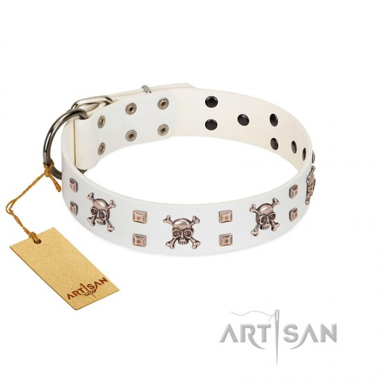 """Skull Island"" Premium Quality FDT Artisan White Designer Doberman Collar with Crossbones and Studs"