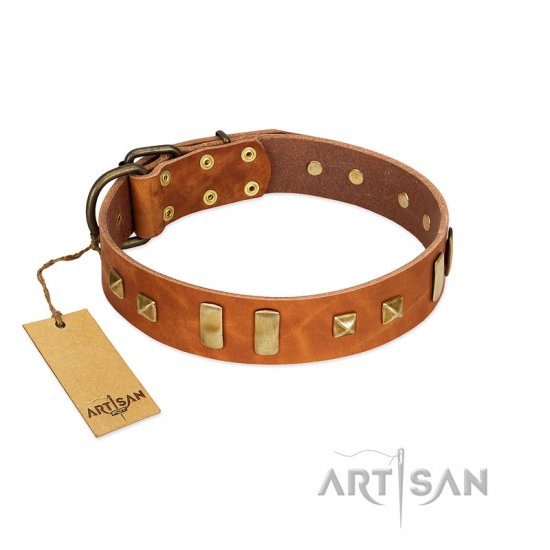 """Sand of Time"" FDT Artisan Tan Leather Doberman Collar with Old Bronze-like Studs and Plates"