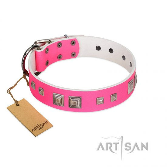 """Rosy Evolution"" Designer Handmade FDT Artisan Pink Leather Doberman Collar"