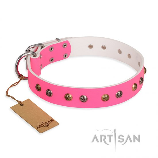 """Sheer love"" Pink Leather FDT Artisan Doberman Collar with Old-look Hemisphere Studs"