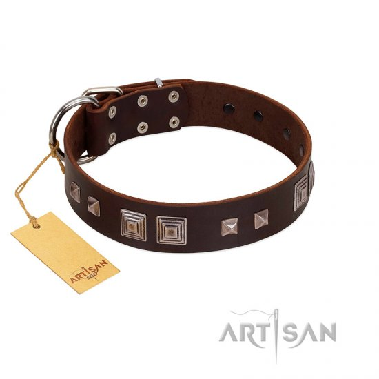 """Object of Virtu"" FDT Artisan Brown Leather Doberman Collar with Old Silver-like Square Studs and Pyramids"