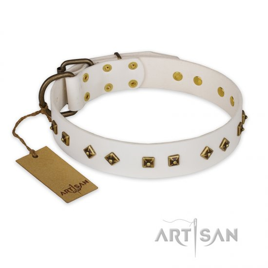 """Snow Cloud"" FDT Artisan White Leather Doberman Collar with Square and Rhomb Studs"