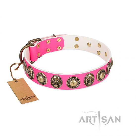 """Two Extremes"" FDT Artisan Pink Leather Doberman Collar with Elegant Conchos and Medallions with Skulls"