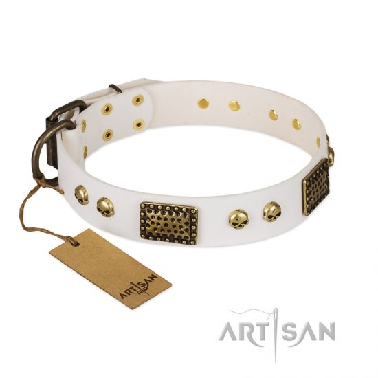 """Lost Treasures"" FDT Artisan White Leather Doberman Collar with Old Bronze Look Plates and Skulls"