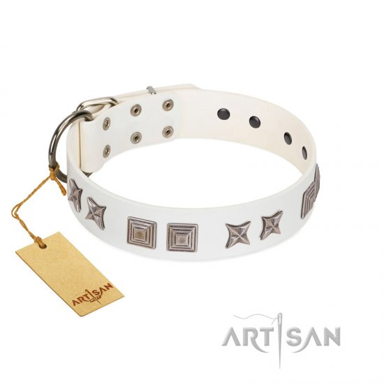 """Mister Perfection"" Designer Handmade FDT Artisan White Leather Doberman Collar"