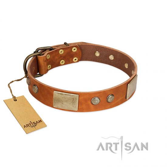 """Ancient Treasures"" FDT Artisan Tan Leather Doberman Collar with Antiqued Plates and Studs"