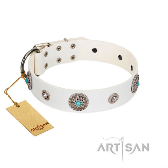 """Lush Life"" Designer Handcrafted FDT Artisan White Leather Doberman Collar with Blue Stones"