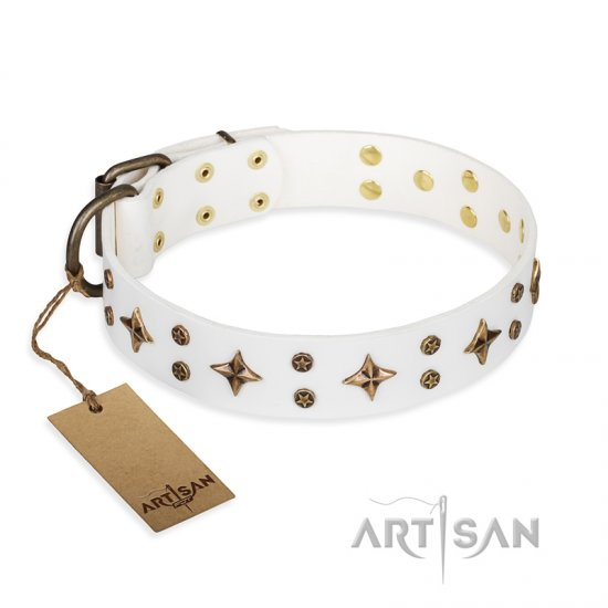 'Bright stars' FDT Artisan White Leather Doberman Dog Collar with Old Bronze Look Decorations - 1 1/2 inch (40 mm) wide