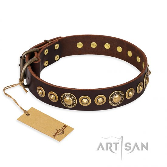 """Ancient Warrior"" FDT Artisan Fancy Leather Doberman Collar with Old-Bronze Plated Decorations"