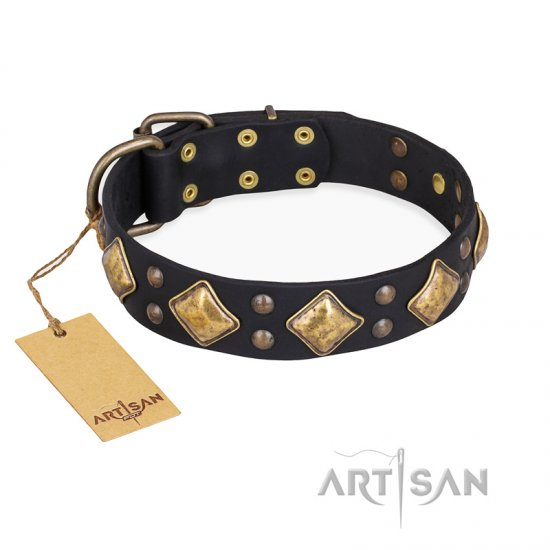 """Fancy-Schmancy"" FDT Artisan Studded Leather Doberman Collar"