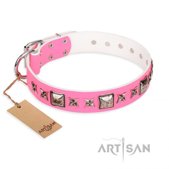 """Lady in Pink"" FDT Artisan Extravagant Leather Doberman Collar with Studs"