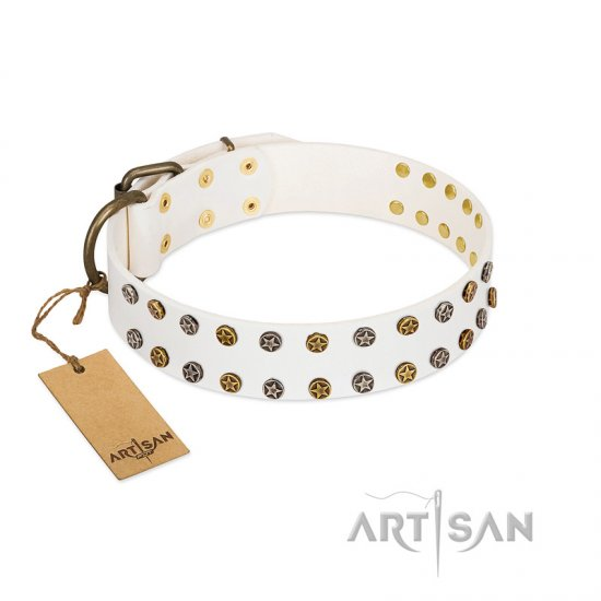 """Crystal Night"" FDT Artisan White Leather Doberman Collar with Two Rows of Small Studs"