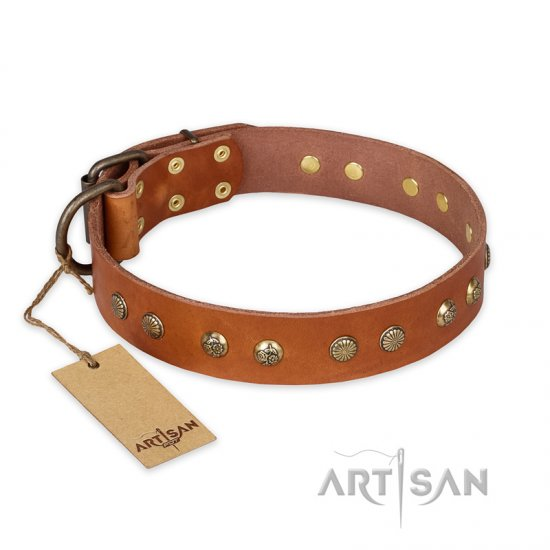 """Spring Flavor"" FDT Artisan Adorned Leather Doberman Collar with Old Bronze-Plated Engraved Studs"