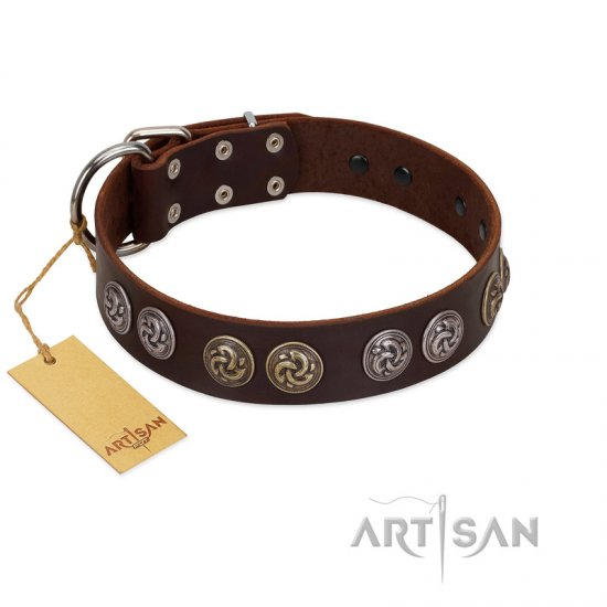 """Treasure Hunter"" FDT Artisan Brown Leather Doberman Collar with Old-Bronze-like and Silvery Medallions"
