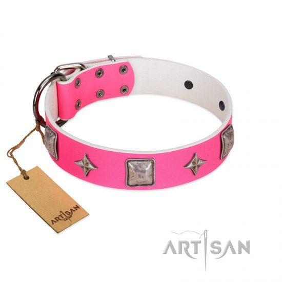 """Star World"" Gorgeous FDT Artisan Pink Leather Doberman Collar with Silver-Like Adornments"