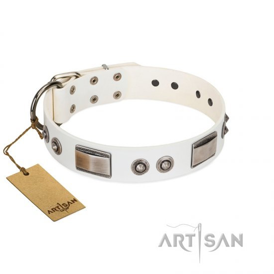 """Good-Luck Piece"" FDT Artisan White Doberman Collar Adorned with Chrome Plated Studs and Plates"