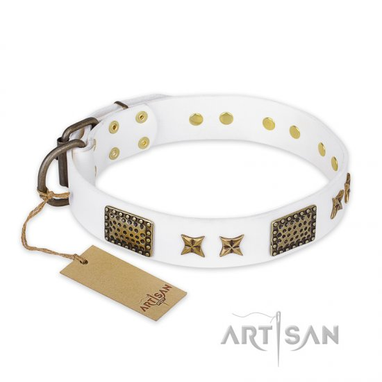 """Hour of Triumph"" FDT Artisan White Leather Doberman Collar"