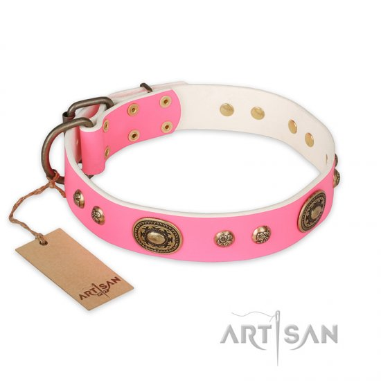 """Sensational Beauty"" FDT Artisan Pink Leather Doberman Collar with Old Bronze Look Plates and Studs"