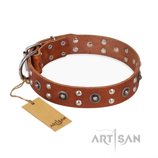"""Silver Elegance"" FDT Artisan Decorated Leather Doberman Collar with Old Silver-Like Plated Studs and Cones"