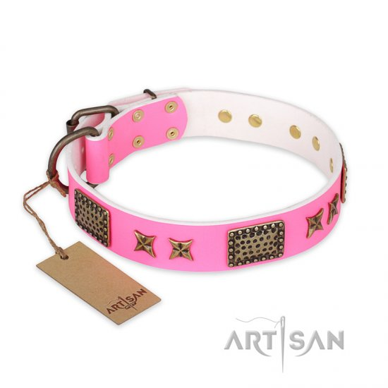 """Tender Pink"" FDT Artisan Leather Doberman Collar with Old Bronze Look Stars and Plates"