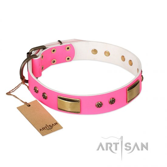 """Pink Daydream"" FDT Artisan Pink Leather Doberman Collar with Old Bronze Look Plates and Studs"