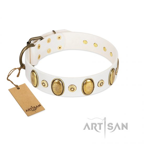 """Pearly Grace"" FDT Artisan White Leather Doberman Collar with Engraved Ovals and Small Dotted Studs"
