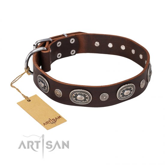 """Extra Pizzazz"" FDT Artisan Adorned Brown Leather Doberman Collar"
