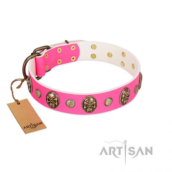 """Miss Pinky Fluff"" FDT Artisan Pink Leather Doberman Collar Adorned with Conchos and Medallions"