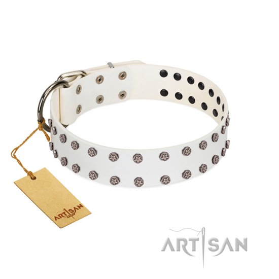 """White Night"" FDT Artisan White Leather Doberman Collar with Vinatge Silver-like Studs"
