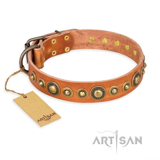 """Feast of Luxury"" FDT Artisan Tan Leather Doberman Collar with Old Bronze Look Circles"