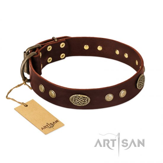"""Old-fashioned Glamor"" FDT Artisan Brown Leather Doberman Collar with Old Bronze Look Plates and Circles"