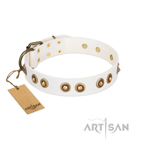 """Moonlit Stroll"" FDT Artisan White Leather Doberman Collar with Antique Decorations"