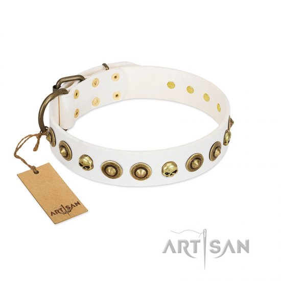 """Wondrous Venture"" FDT Artisan White Leather Doberman Collar with Skulls and Brooches"