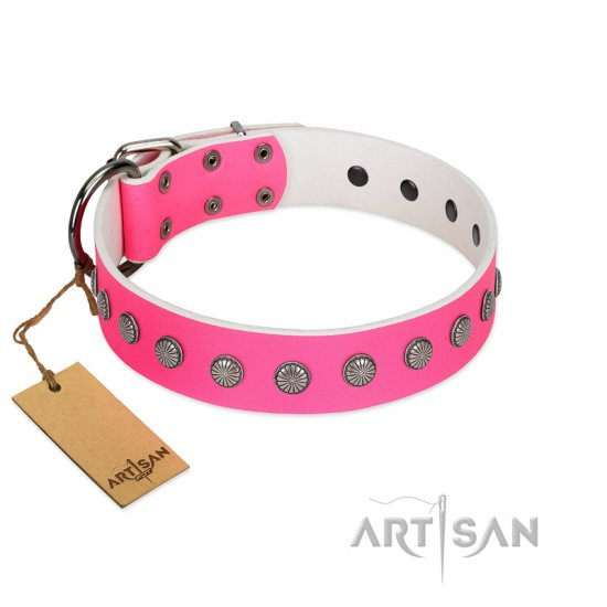 """Florescence"" Ultramodern FDT Artisan Pink Leather Doberman Collar Decorated with Silver-Like Studs"