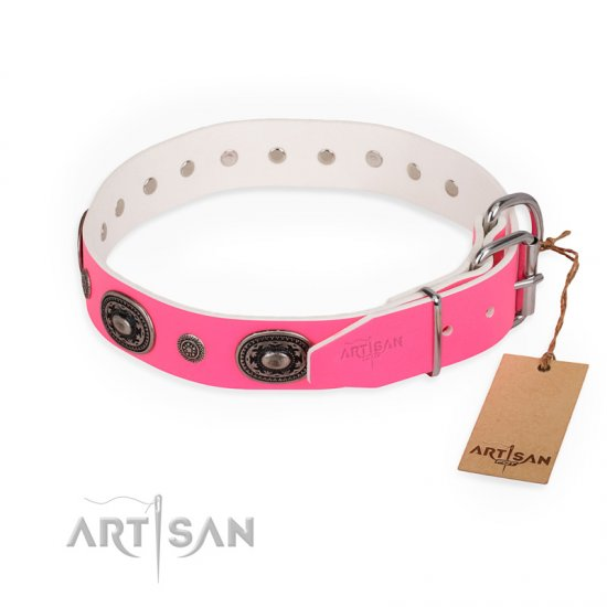 """Flavor of Strawberry"" FDT Artisan Flashy Pink Leather Doberman Collar"