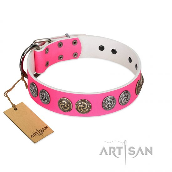 """Pink Butterfly"" Designer FDT Artisan Pink Leather Doberman Collar with Round Studs"