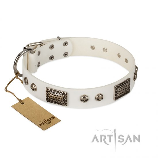 """Terrific Beauty"" FDT Artisan Beguiling White Leather Doberman Collar"