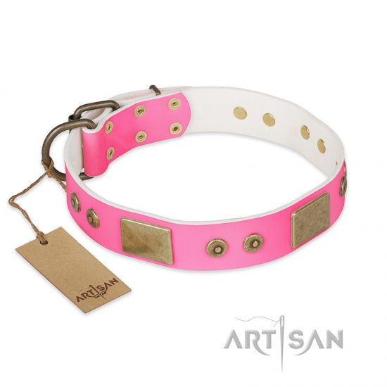 """Pink World"" FDT Artisan Pink Leather Doberman Collar with Old Bronze Look Plates and Studs"