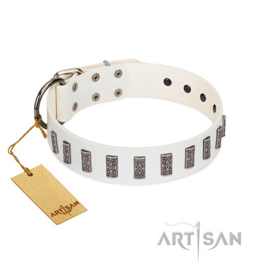 """Heaven's Gates"" Handmade FDT Artisan White Leather Doberman Collar with Silver-Like Engraved Plates"