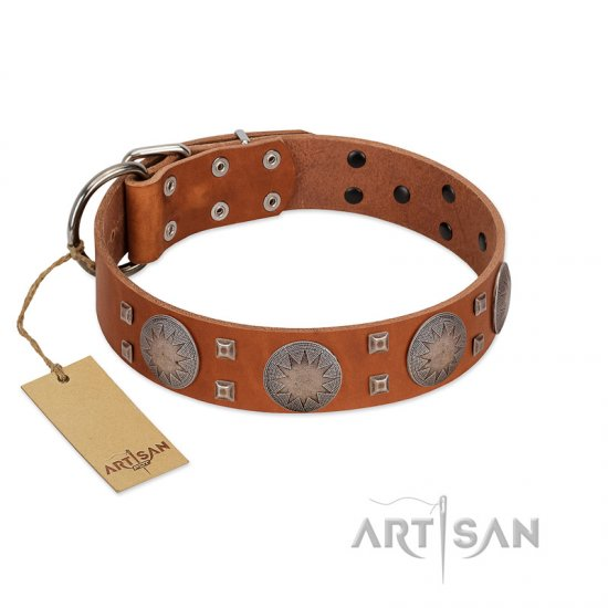 """Sun Rise Noon"" FDT Artisan Tan Leather Doberman Collar with Unique Design"