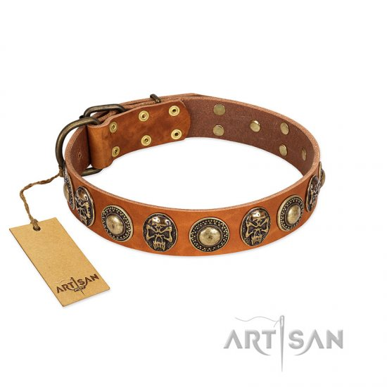 """Golden Epoch"" FDT Artisan Tan Leather Doberman Collar with Old Bronze-plated Medallions and Conchos"
