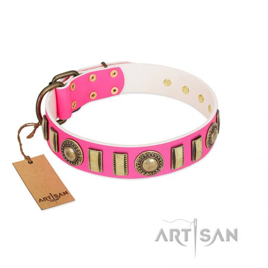 """La Femme"" FDT Artisan Pink Leather Doberman Collar with Ornate Brooches and Small Plates"