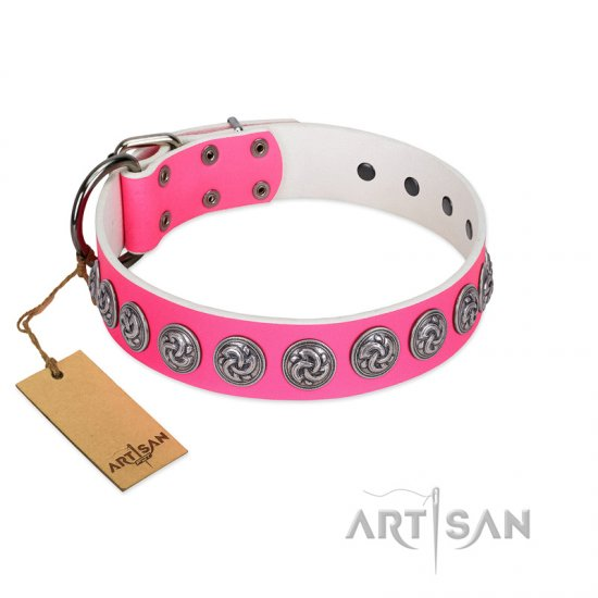 """Pink Garden"" Designer FDT Artisan Pink Leather Doberman Collar for Stylish Look"
